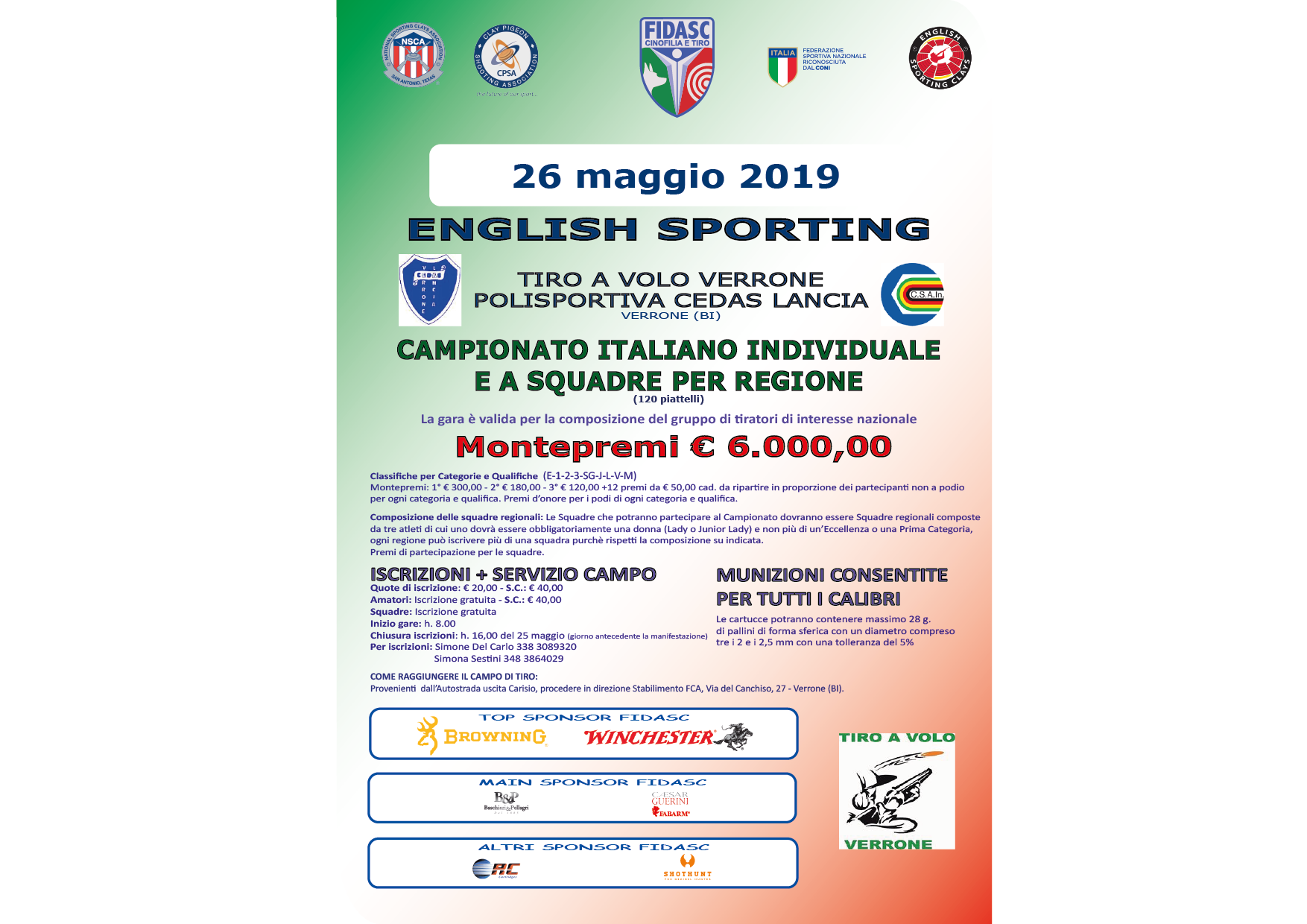 ENGLISH SPORTING - Campionato Italiano individuale e a squadre per Regione